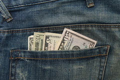 Dollar note in Jeans pocket Royalty Free Stock Images