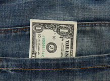 Dollar note in Jeans pocket Stock Photography