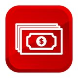 Dollar Note Money Bank Icon. Red Button. Eps10 Vector royalty free illustration