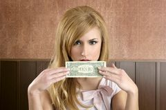 Dollar note retro woman holding hand hiding face royalty free stock image