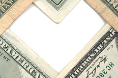 Dollar note with white space resemble heart shape. Closeup of dollar note with white space resemble heart shape Royalty Free Stock Photo