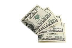 Dollar notes. One hundred dollar notes against the white background Stock Photos