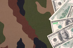 Dollars on a camouflage background Royalty Free Stock Images