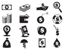 Dollar Notes and Coins Money Icon Set Royalty Free Stock Image