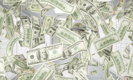 Dollar notes are falling down from ceiling. A bright space with safe deposit boxes are on the background. Stock Image