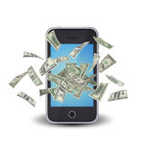 Dollar notes flying around the smart phone Stock Photo
