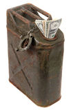 Dollar notes and jerrycan Stock Photography