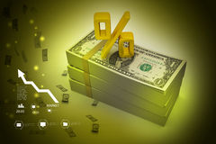 Dollar notes with percentage Stock Images