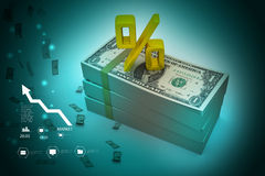 Dollar notes with percentage sign Stock Image