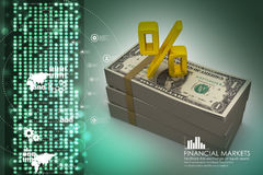 Dollar notes with percentage sign. In color background Royalty Free Stock Photo