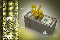 Dollar notes with percentage sign. In color background Stock Photography