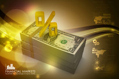 Dollar notes with percentage sign. In color background Royalty Free Stock Images