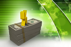 Dollar notes with percentage sign. In color background Royalty Free Stock Photos