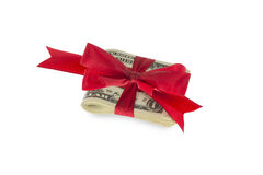 Dollar Notes with red ribbon Royalty Free Stock Images