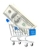 Dollar notes in shopping cart Royalty Free Stock Photography