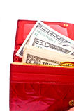 Dollar notes and wallet Royalty Free Stock Photos