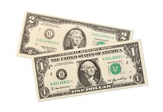 Dollar notes on white background Stock Photo