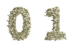 Dollar Numbers. Numbers 0 and 1 build from dollar bills. the other numbers are available too royalty free illustration