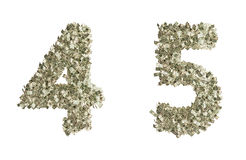 Dollar Numbers. Numbers 4 and 5 build from dollar bills. the other numbers are available too Royalty Free Stock Images