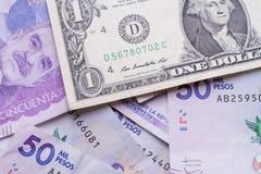 Dollar och colombiansk peso Arkivbilder