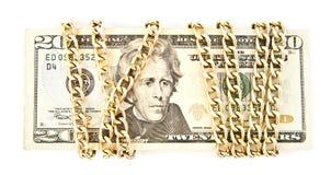 Dollar och en kedja Fotografering för Bildbyråer