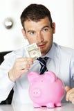 Dollar och en piggy grupp Royaltyfria Bilder