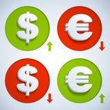 Dollar och euro Fotografering för Bildbyråer