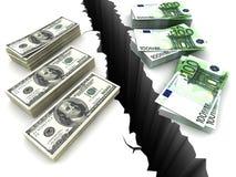 Dollar och euro dem emellan ett klippbrants- 3d Arkivbilder