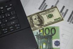 Dollar och euro på tabellen Arkivfoton
