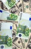 Dollar- och eurosedel Fotografering för Bildbyråer