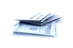 Dollar och kreditkort Fotografering för Bildbyråer
