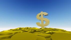 Dollar och myntar Fotografering för Bildbyråer