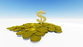 Dollar och myntar Royaltyfri Bild
