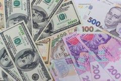 dollar och ny ukrainsk hryvnia Royaltyfria Foton