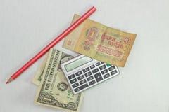 Dollar och rubel Fotografering för Bildbyråer