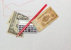 Dollar och rubel Arkivbilder