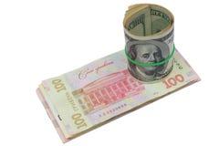 dollar och ukrainsk hryvnia Arkivbild