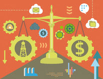 Dollar and oil in balance stock illustration