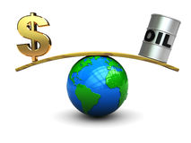 Dollar and oil on scale. 3d illustration of dollar sign and oil barrell on scale vector illustration