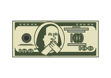 Dollar OMG portrait Franklin. USA money. American currency. Oh my god Benjamin Franklin vector illustration