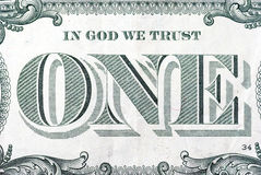Dollar One. The In God We Trust area on the back of a one dollar bill Stock Photo