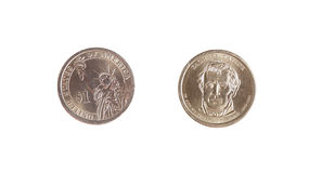 Dollar one coin obverse revers isolated Royalty Free Stock Image