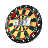 Dollar op bullseye Royalty-vrije Stock Foto's