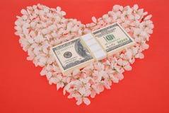 Dollar op hart van bloemen wordt gemaakt die Royalty-vrije Stock Foto's