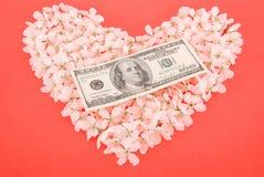 Dollar op hart van bloemen wordt gemaakt die Stock Foto's