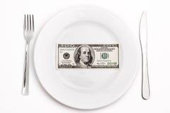 Dollar op plaat Royalty-vrije Stock Afbeelding