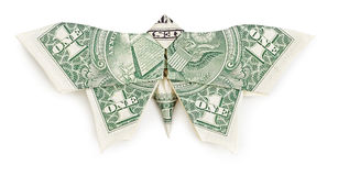 Dollar origami butterfly on white background Stock Photo