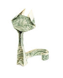 Dollar origami cat isolated Stock Photography