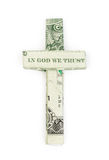 Dollar origami cross Stock Photo