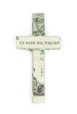 Dollar origami cross Stock Photo